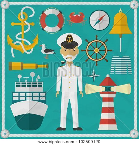 Captain Captain and Nautical flat icons.