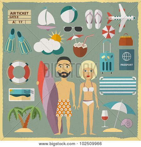 Summer holiday character design with summer objects. Man and woman in a swimsuit. Vector illustratio