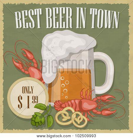 Retro illustration of beer free label, beer poster. Vector illustration