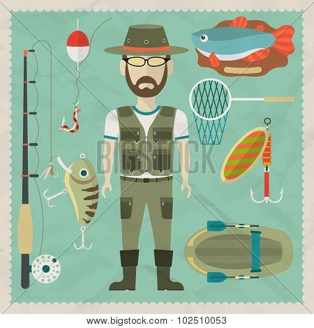 Fisherman flat character.  Fishing flat icons. Vector flat illustrations