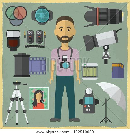 Photography character flat design. Photography flat icons. Vector illustration.