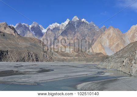 Northern Pakistan. Passu region. Karakorum mountains in Pakistan.