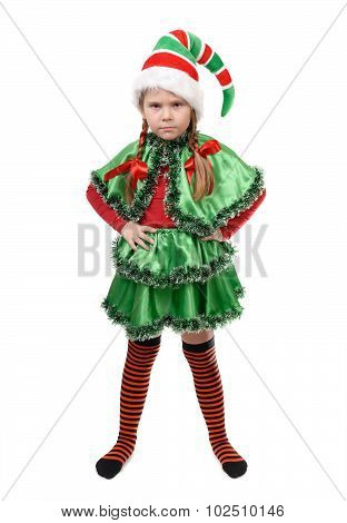 Angry Little Girl - Santa's Elf On White