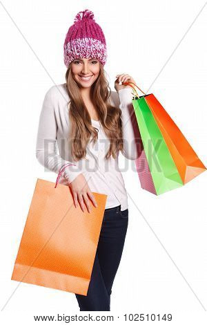 Happy Woman With shopping Bags Isolated
