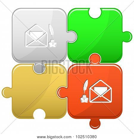 mail with feather and inkstand . Vector puzzle.