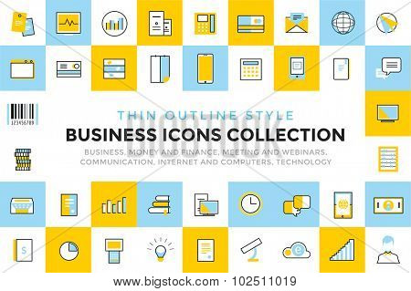 Business vector icons set bundle. Communication vector icons set. Communication sign and communication symbols. Business icons - computer, mobile phone and calcalator, money, finance, globe earth