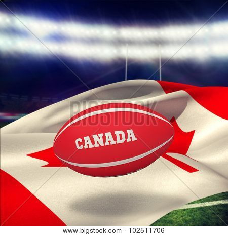 Canada rugby ball against rugby stadium