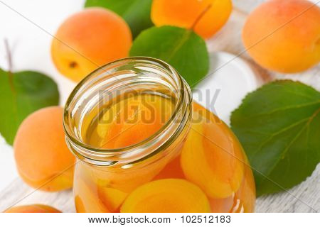detail of compote apricots in the glass jar