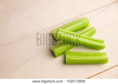 Pieces of celery scattered on the table