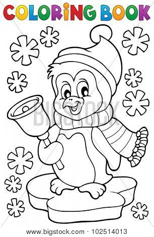 Coloring book Christmas penguin topic 1 - eps10 vector illustration.