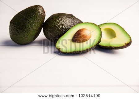 Slices of avocado on the table