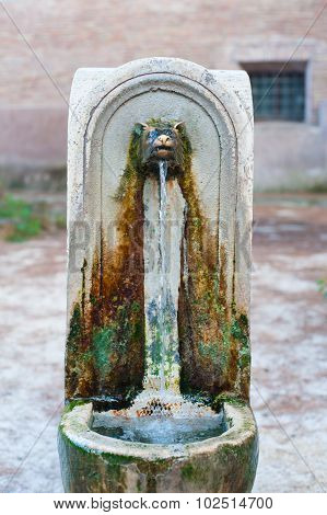 Aged Typical Roman Fountain