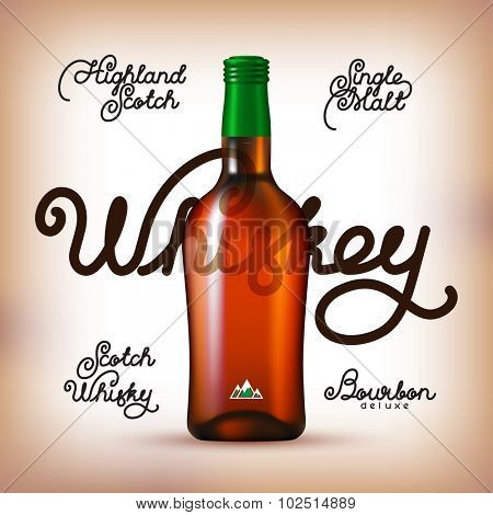 Whiskey bottle and Labels Set. Kinds of whiskey