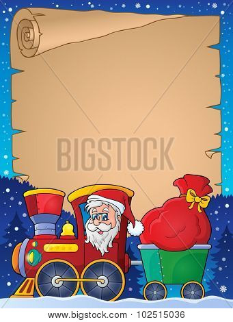 Parchment with Christmas train theme 1 - eps10 vector illustration.