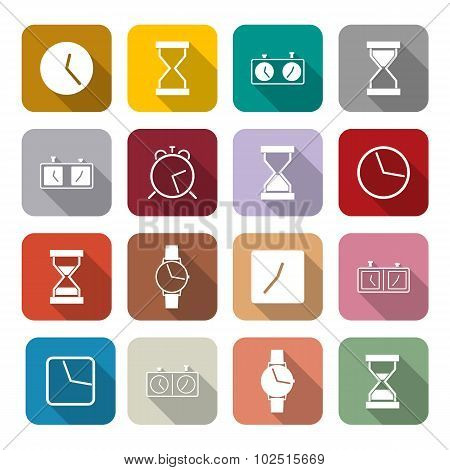Icons Clock, Vector Illustration.
