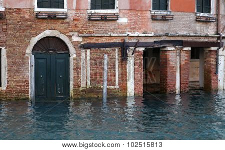 Venice Houses During High Tide