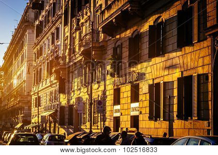 ROME, ITALY - OCTOBER 30: Streets of Rome in Italy in sunset on October 30, 2014.