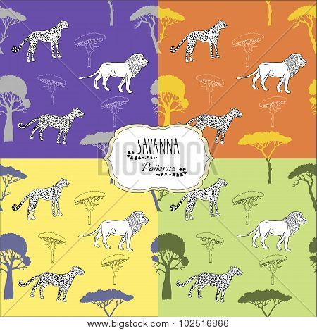 Set seamless patterns with savanna animals