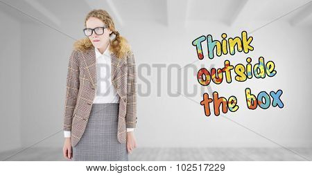 Geeky hipster woman looking nervous against bright white room