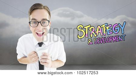 Geeky businessman holding a mug against clouds in a room