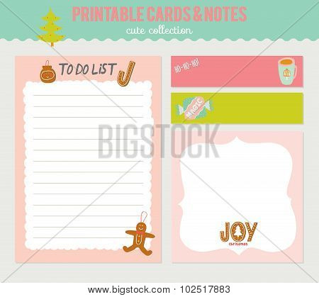 Cute Vector Christmas Cards and Stickers