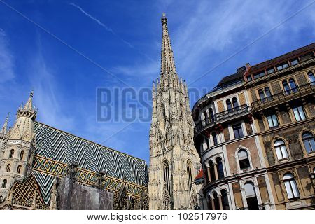 Stephansdom Cathedral On Stephansplatz In Vienna Austria;