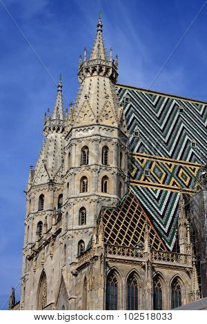 Detail Of Architecture On St. Stephen Cathedral In Vienna