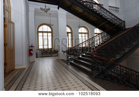 ST. PETERSBURG, RUSSIA - SEPTEMBER 19, 2015: Interior of the main building of Peter the Great Saint-Petersburg Polytechnic University during PolyFest. The building was erected in 1900-1902
