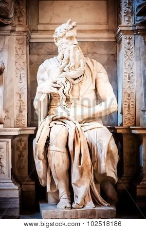 Sculpture Of The Prophet Moses, Made By The Famous Artist Michelangelo In The Church Of San Pietro I