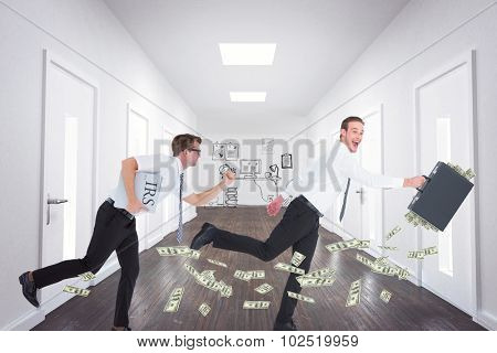 Running businessman against doodle office in hallway