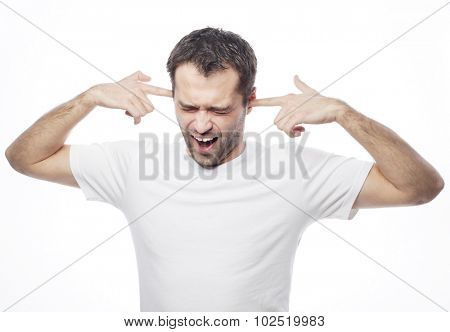 man hold hands on temples ears, concept of man stressed, headache, depressed, pain, closed eyes wear white t-shirt, isolated on white.