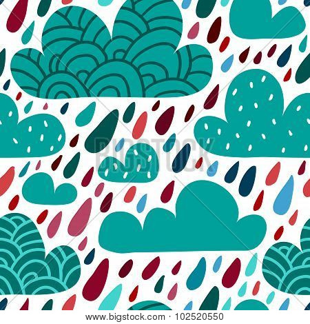 Seamless Pattern With Clouds And Falling Raindrops