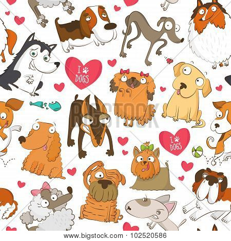 Seamless Pattern With Dogs And Hearts