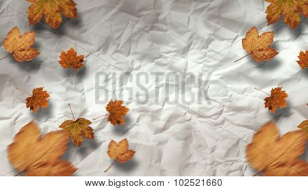 Autumn leaves pattern against crumpled page