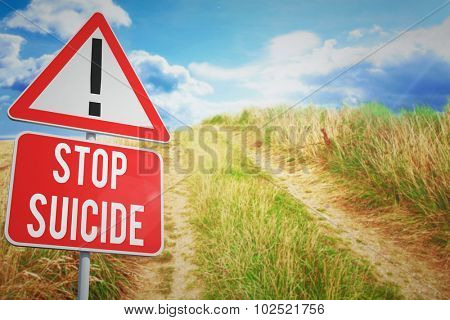 stop suicide against blue sky over sand dunes