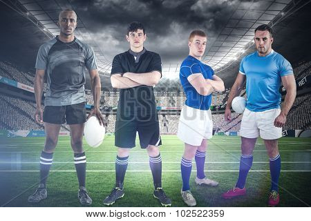 Tough rugby players against rugby stadium