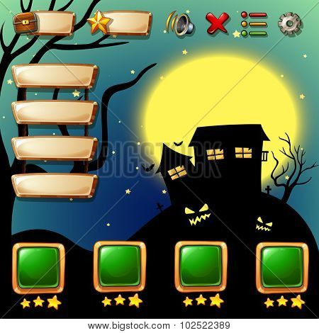 Game template with halloween background illustration