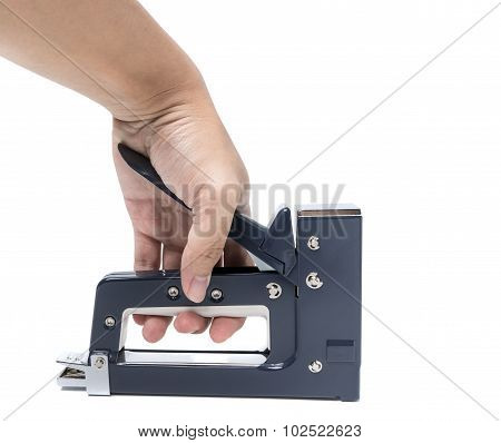 Hand With Construction Stapler Isolated On White