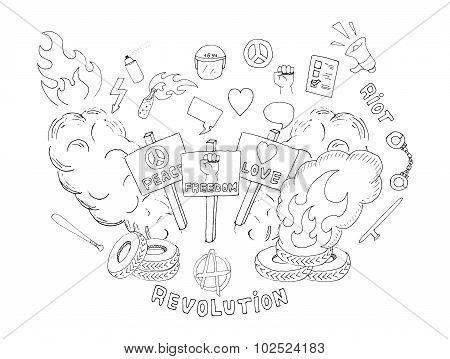 Sketch protest symbols