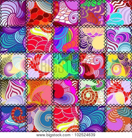Abstract patchwork seamless pattern
