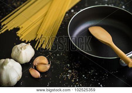 Pasta Ingredient Background / Pasta Ingredient / Pasta Ingredient On Black Background