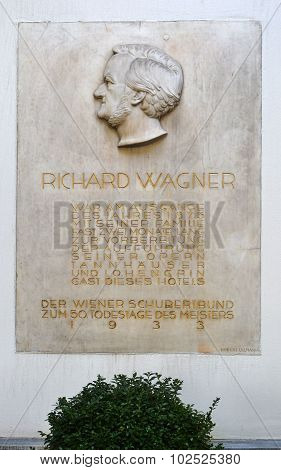 Plaque For Richard Wagner, Hotel Imperial, Vienna