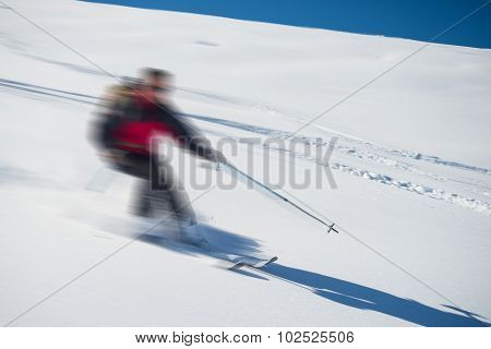 Freeriding On Fresh Powder Snow, Blurred Motion