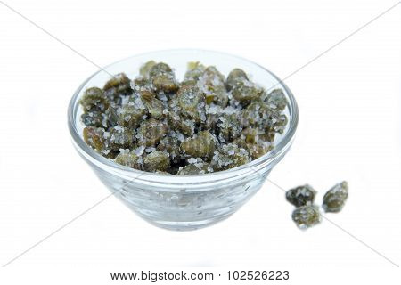 Salted capers in bowl