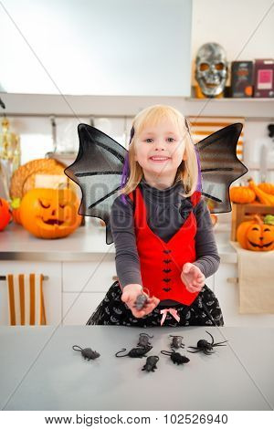 Funny Girl In Halloween Bat Costumein With Mouse Toys