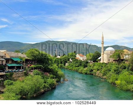 View from the Old Bridge (Stari Most), Mostar, Bosnia and Herzegovina
