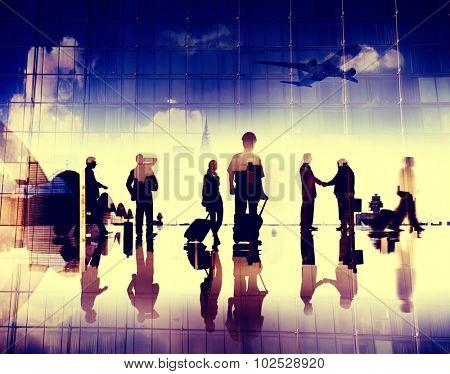 Business People Pilot Corporate Airport Travel Flight Concept