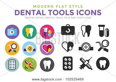 Dental vector icons set. Dentist clinic icons logo. Vector tooth, heart, pills, health care, tooth care, oral hygiene, tooth logo, toothbrush. Dentist clinic doctor office tools. Tooth halth care