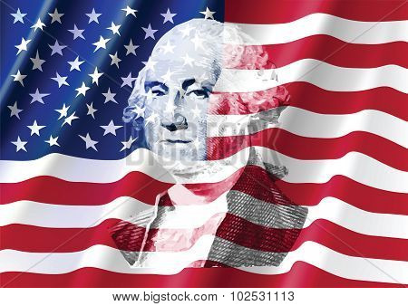 George Washington On United Of America Flag