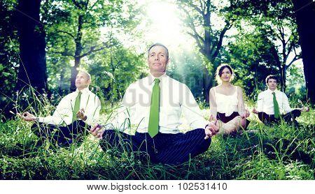 Green Business Team Meditation Contemplation Concept